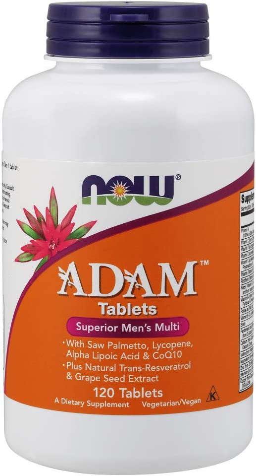 NOW Supplements, ADAM Men s Multivitamin with Saw Palmetto, Lycopene, Alpha Lipoic Acid and CoQ10, Plus Natural Resveratrol Grape Seed Extract,Tablets,120 Count Pack of 1