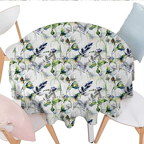 (Antaquzhuq Table Cover Spillproof Tablecloth,Floral Pattern with Sweet Pea Blossoms in Watercolor Paint Effect Spring Theme, for Kitchen Dining Party (Round, 54 Inch, Green White Blue))