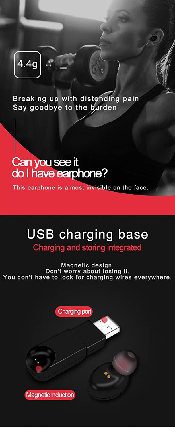 Scube Single Bluetooth Earbud With Magnetic Charger Axl Bass Wiring Diagram Chargerclear Sound Deep Base 41 Sweatproof True Wireless Stereo Headphones Mic