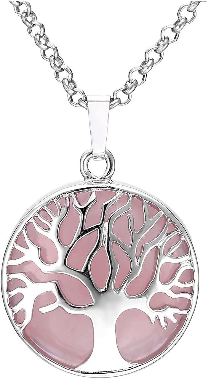 JSDDE - Collar con colgante de árbol de la vida para mujer, cristal curativo natural de cuarzo