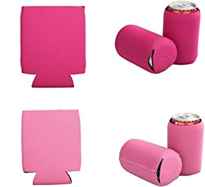 E-Living 330ML (12 OZ) Collapsible Neoprene Can/Beer/Bottle/Beverage Cooler/Coolie/Cover/Insulator/Holder/Huggie/Sleeve for Cola/Beer/Soda - 6 Pack (Pinkish)