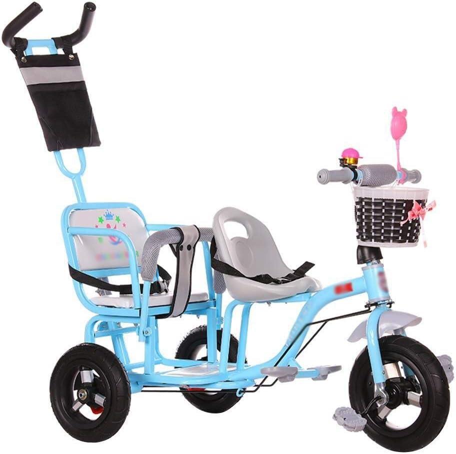 LQRYJDZ Triciclo Doble for niños, Rueda Espacial, Bicicleta de Dos Asientos for Cochecito Gemelo, Unisex de 1 a 3 años (Color : B)