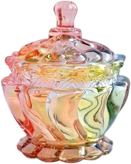 SOCOSY Royal Embossed Clear Glass Apothecary Jar With Lids, Candy Jar Containers Wedding Candy Buffet Jars Crystal Jewelry Box Food Jar 7oz