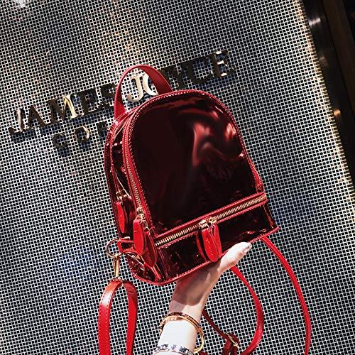 Mini Sac Petit coréenne en WSLMHH Sac Sauvage argent Mode à Gros marée personnalité Femme Sac PU Casual à Petit rouge Dos Cuir Dos fdU8Uqw