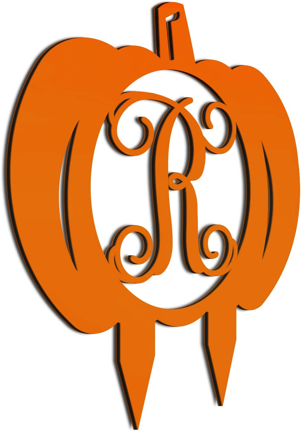 JASS GRAPHIX Initial R Monogrammed Aluminum Pumpkin Sign for Lawn décor