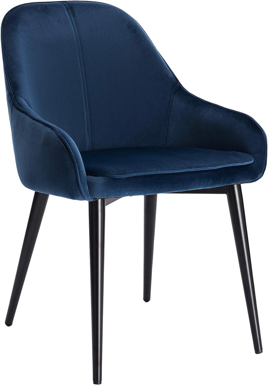 WOLTU BH186bl-1 Poltroncina per Camera da Letto Soggiorno Sedia da Pranzo con Schienale Braccioli in Velluto Blu