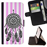 Graphic4You Dreamcatcher Lines Pattern (Light Pink) Thin Wallet Card Holder Leather Case Cover for Sony Xperia X Compact