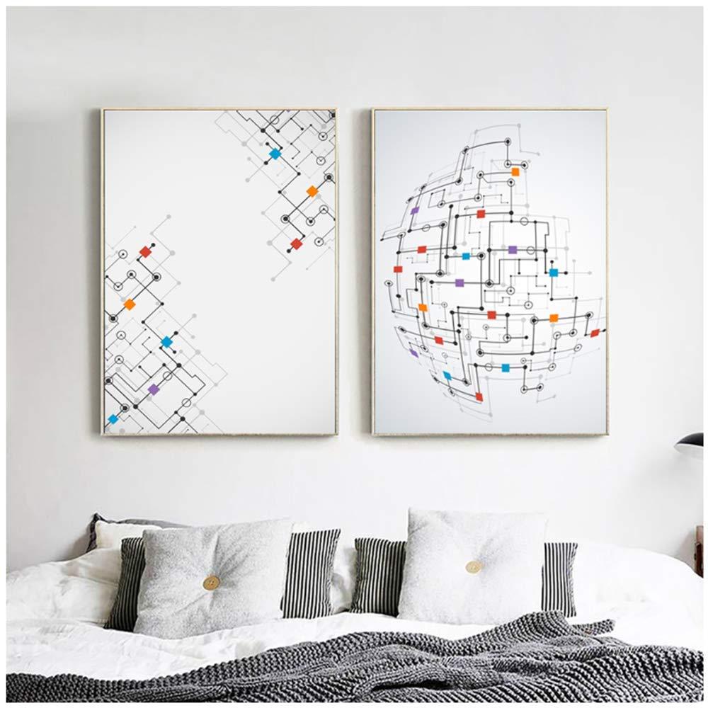 Polígono abstracto moderno Línea recta y punto 3D A4 Lienzo ...
