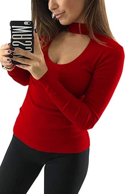 Yacun Camiseta Casual De Manga Larga para Mujer Choker Cuello Delgado Blusa
