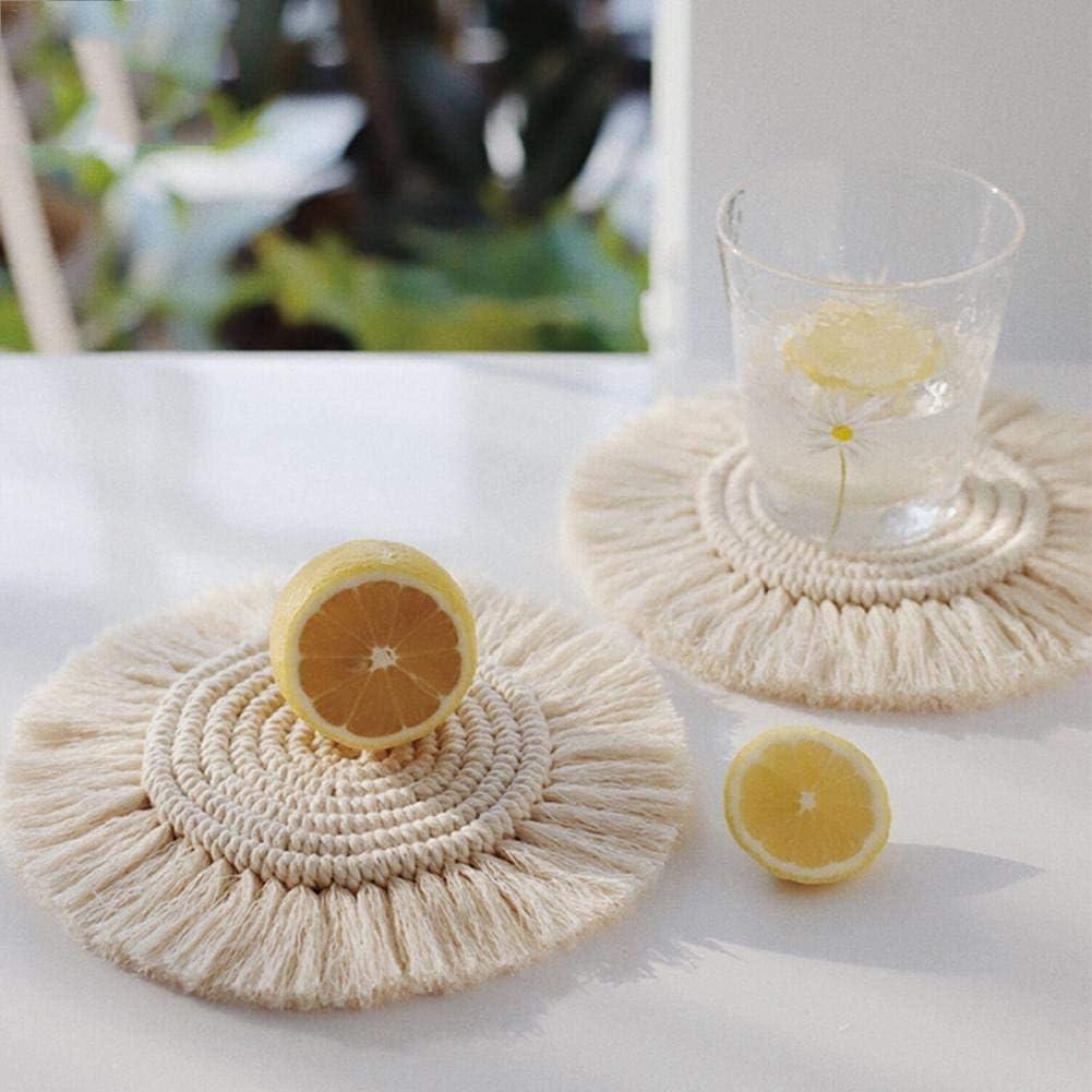 tipos de tazas y tazas 2 estilos diferentes hechos a mano con cuerda trenzada de algod/ón trenzada Posavasos de macram/é posavasos Boho borla