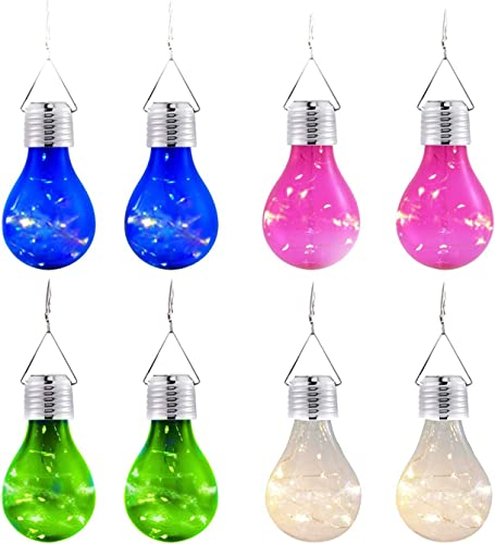 8 Pack Solar Light Bulbs Indoor Outdoor Waterproof Garden Camping Hanging Led Light Bulbs Globe Hanging Lights for Garden Patio Umbrella Christmas Halloween Party Holiday Decorations Warm White