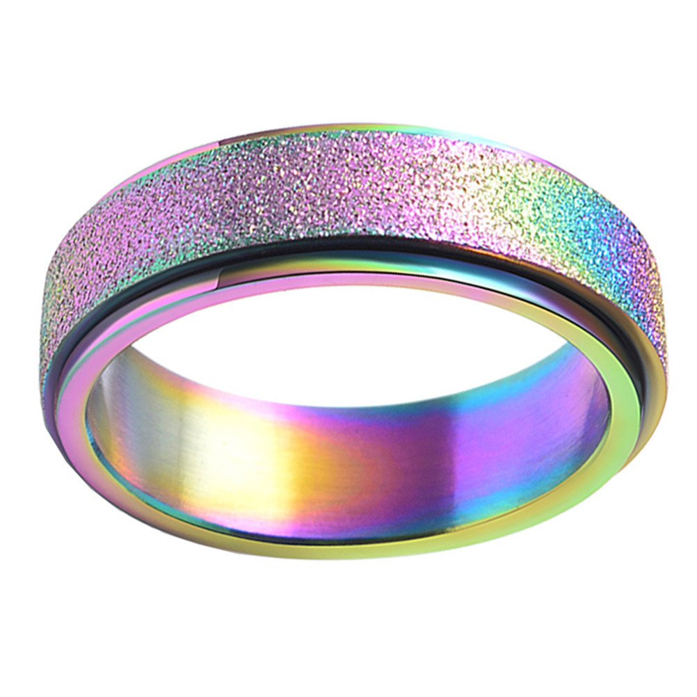 PAURO Women's Stainless Steel 6MM Ranibow Flag Lucky Spinner Worry Ring Band Size 8