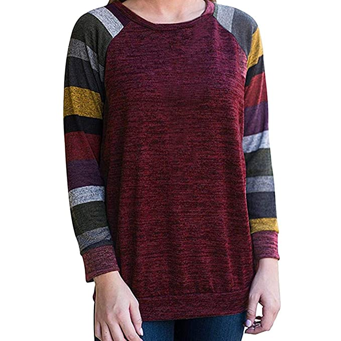 Amazon.com: AOJIAN Blouse Women Long Sleeve T Shirt O Neck Stripe Raglan Sleeve Tunic Tops: Clothing