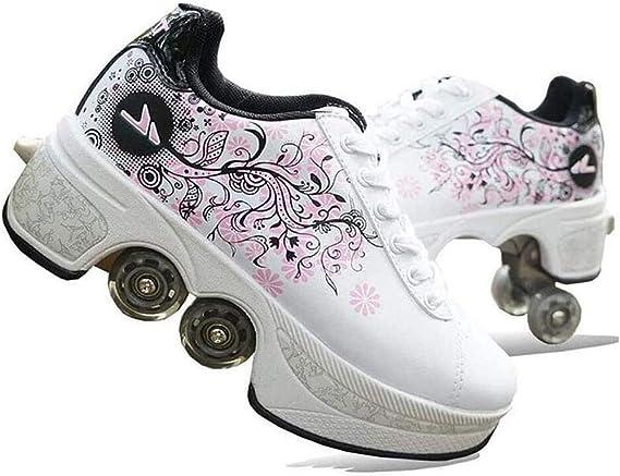 LOISK Ajustables Invisible Deformación 4 Rueda Patines En Paralel Zapatos Multiusos 2 En 1 Adulto Unisex Running Sneaker Zapatillas Deportivas: Amazon.es: Deportes y aire libre