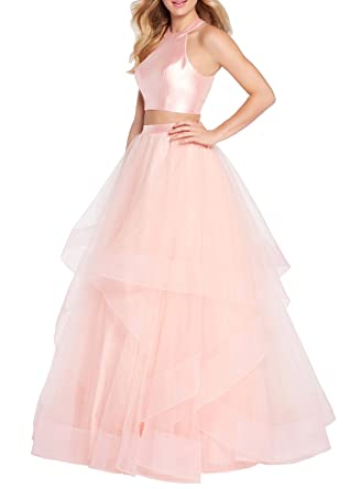 Halter Homecoming Dresses Two Pieces Prom Dress Ruffle Tulle Evening Party Gown S046 (2,