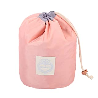 HOYOFO Makeup Bags Travel Drawstring Bags Cosmetics Barrel Bag Quick Packing Storage, Light Pink