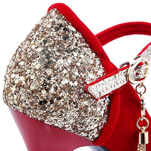 VogueZone009 Damen Blend-Materialien Gemischte Farbe Rund Zehe Hoher Absatz Pumps Schuhe Rot