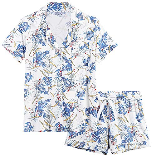 - Joyaria Womens Soft Bamboo Pajama Sets Button Down Short Sleeve Pj Sleepwear (Bamboo Leaf,Large)