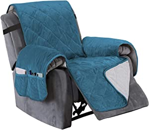 "Turquoize Recliner Cover Velvet Recliner Chair Cover, Pet Cover for Recliner with Elastic Straps Recliner Seat Width Up to 28"" Sofa Slipcover for Living Room Furniture Protector (Large, Peacock Blue)"