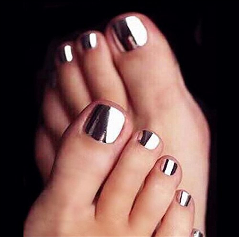 BloomingBoom 24 Pcs 12 Sizes Full Cover False Fake Nail Toes Toenail Artificial Design Nail Art Tips Woman Girl Elegant Gift Metallic Mirror Effect Silver Silvery