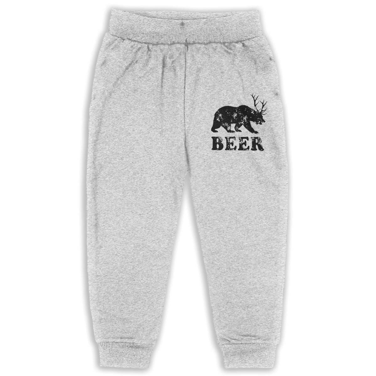 LFCLOSET Beer Bear Deer Children Active Jogger Sweatpants Basic Elastic Sport Pants Gray