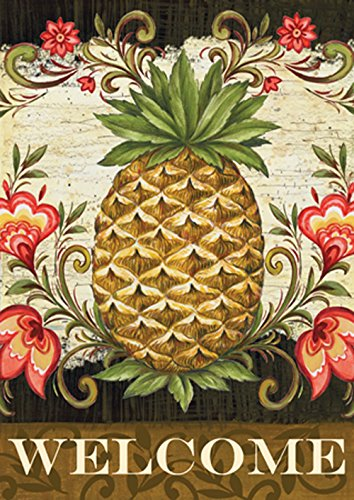 Flag Garden Home Welcome - Toland Home Garden Pineapple & Scrolls 12.5 x 18 Inch Decorative Welcome Fruit Flower Double Sided Garden Flag