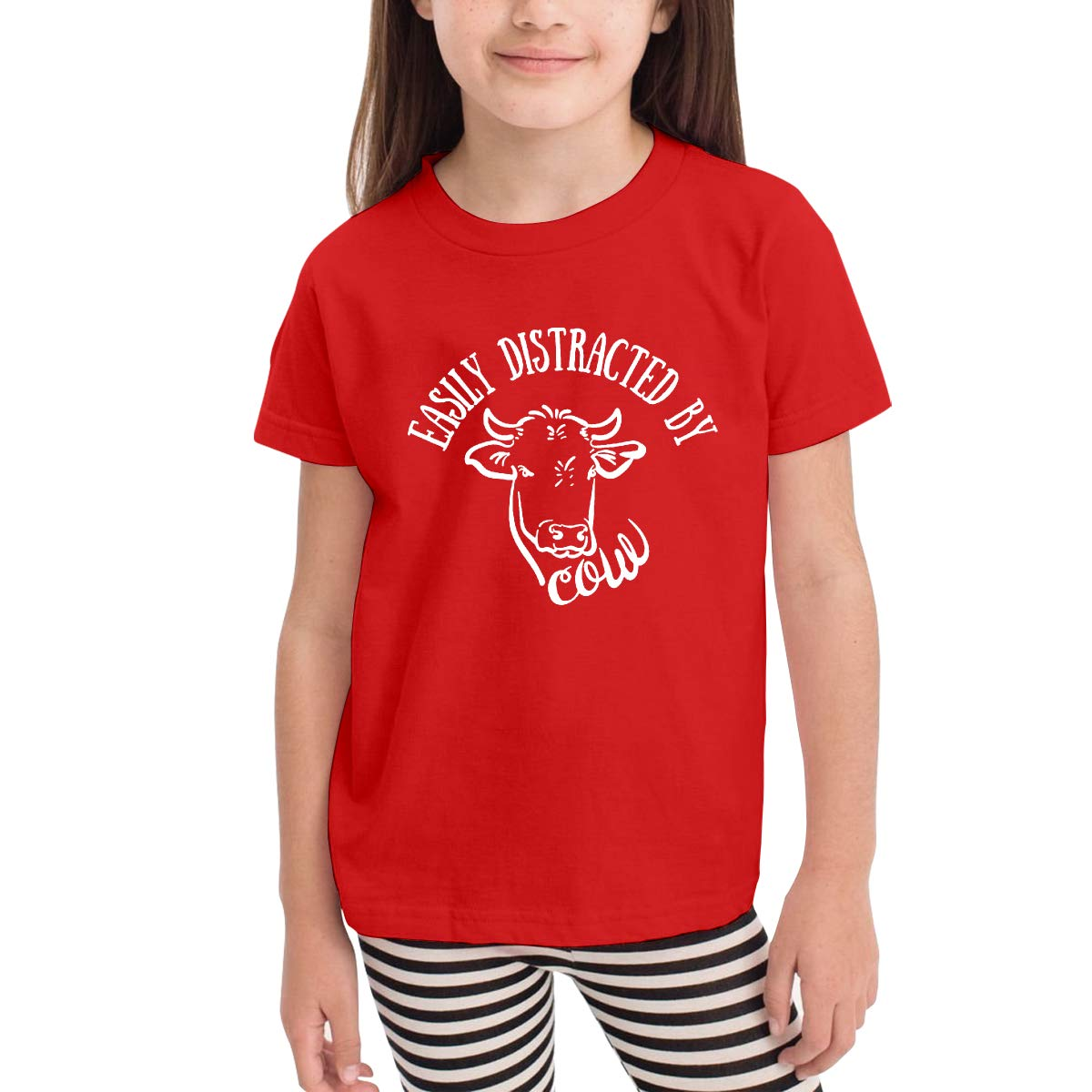 Kids T-Shirt Tops Black Easily Distracted by Cows Unisex Youths Short Sleeve T-Shirt
