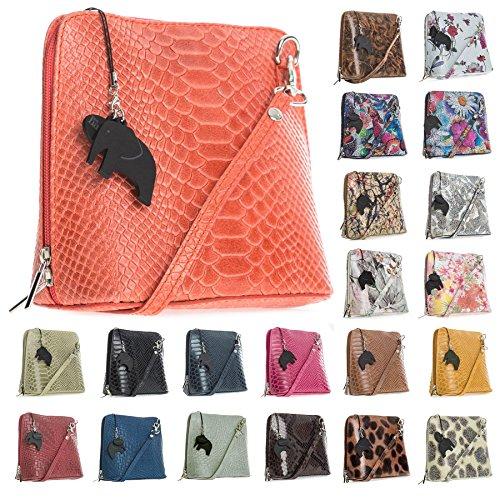Big Handbag Shop - Bolso cruzados de Piel para mujer Talla única Snake - Navy