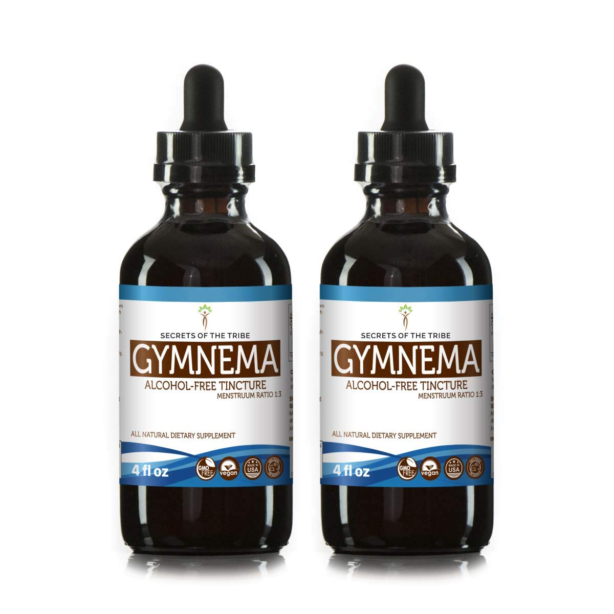 Gymnema Liquid Extract Alcohol-Free Tincture, Organic Gymnema (Gymnema Sylvestre) Dried Leaf (2x4 fl oz) by Secrets of the Tribe (Image #2)