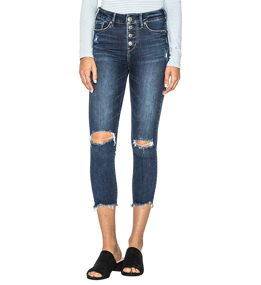 a341e7af72c Amazon.com  Silver Jeans Co. Women s Mazy Straight-fit High-Rise Skinny  Crop Jeans  Clothing