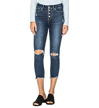 aa7beabc Silver Jeans Co. Women's Mazy Straight-Fit High-Rise Skinny Crop Jeans,