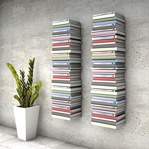 Estantería invisible con 8 compartimentos (hasta 200 cm de alto, para libros apilables de hasta 22 cm de profundidad), color blanco