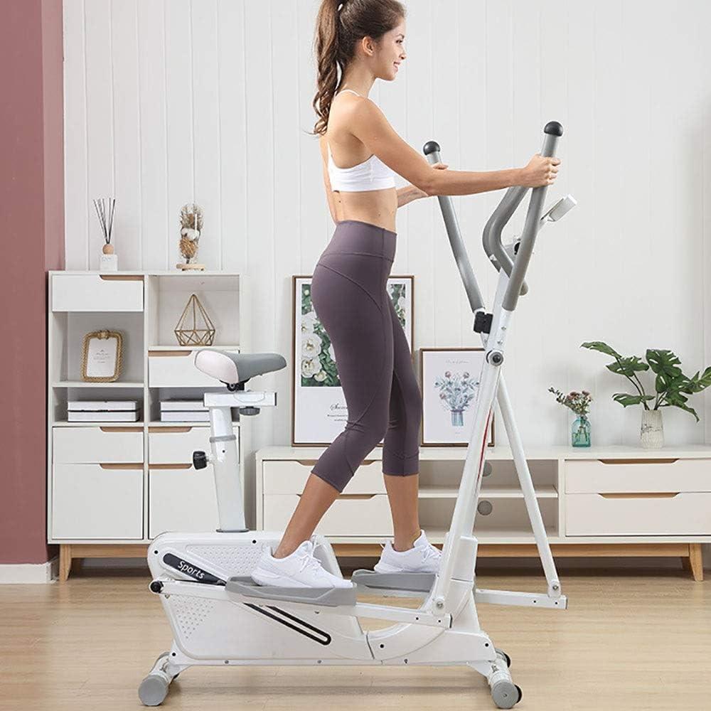 ZDAMN Deportes Spinning Aerobic Bicicleta de Ejercicio Elíptica Entrenador y la Bicicleta estática con Asiento y fácil Ordenador Dual Trainer 2 En 1 Cardio Inicio Inicio de Ciclo de la máquina