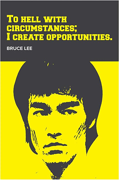 BRUCE LEE TYPOGRAPHY CANVAS PICTURE PRINT WALL ART FREE DELIVERY 12 X 12 INCH