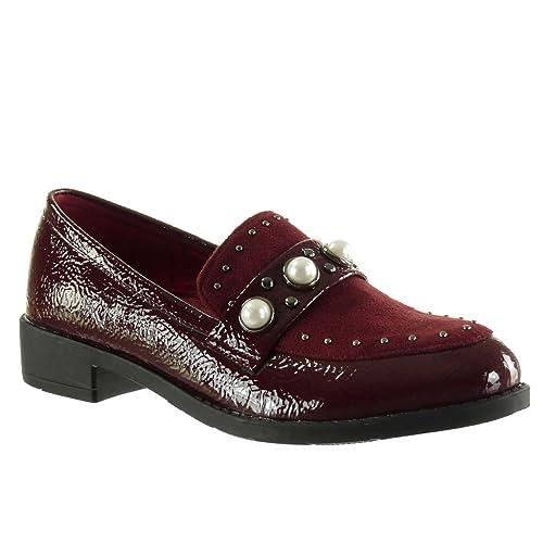 Angkorly Zapatillas de Moda Mocasines Bimaterial Slip-on Mujer Tachonado Perla Patentes Talón Tacón Ancho 3 CM: Amazon.es: Zapatos y complementos