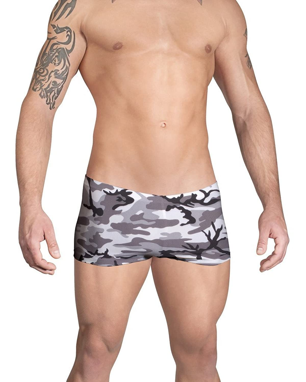 Vuthy Sim Brand Men's Swim SquareCut in Gray, Black and White Camouflage Print