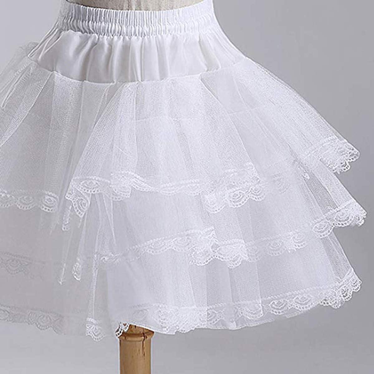 AliceHouse 3 Layers Girls Slip Flower Girl Petticoat Crinoline Hoopless Skirt Underskirt for Kids KPT2