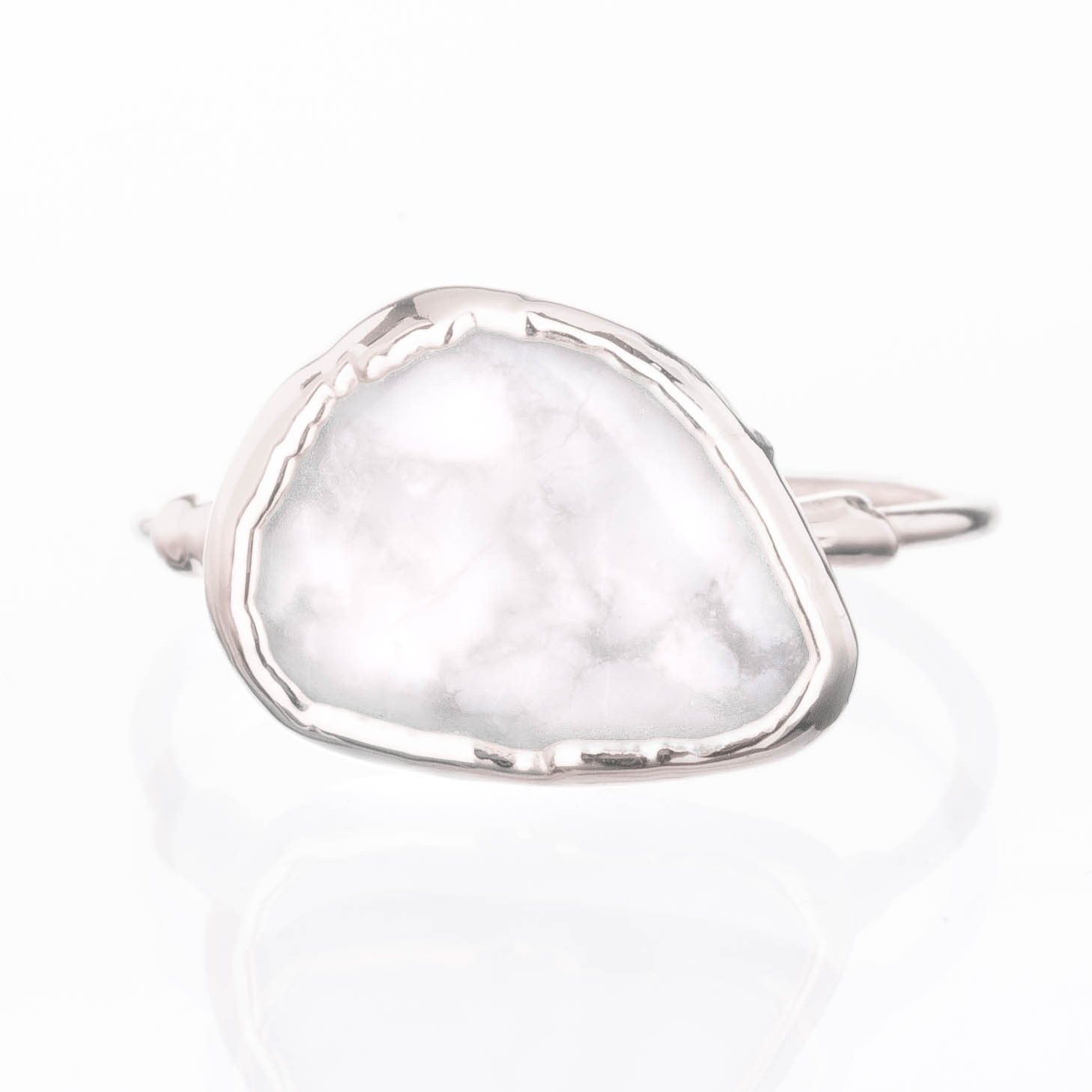03a3c4772057d Amazon.com: White Marble Ring, Sterling Silver, Size 6, Raw Gemstone ...
