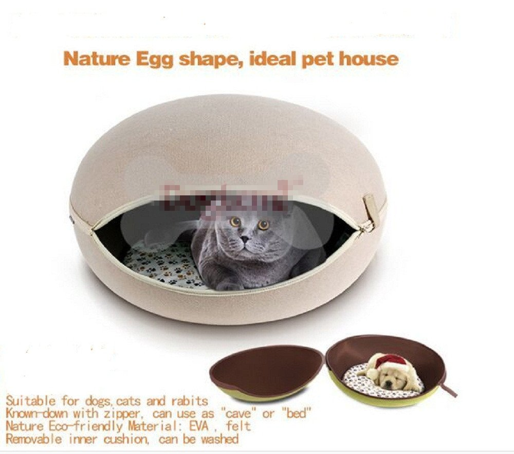Grey Hua Rui Egg type pet bed capable of removing pet nest pet supplies (grey)