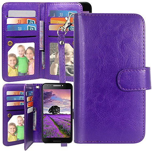 Harryshell Luxury 12 Card Slots Kickstand Shockproof PU Leather Wallet Flip Case Wrist Strap for T-Mobile REVVL/Alcatel A30 Fierce 2017 (MetroPCS) / Alcatel A30 Plus/Alcatel Walters (Purple)