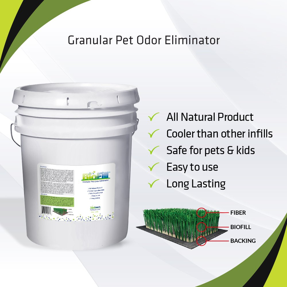 BioFill 5G Pail Granular Artificial Turf ALL NATURAL Pet Odor Deodorizer and Eliminator Infill. Child and Pet Safe Organic Material! Used in all types of different applications for ODOR ELIMINATION!
