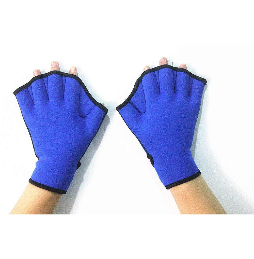 1 Pair Blue Swim Fins Hand Surfing Webbed Flippers Gloves Half Fingers Paddles Training for Swimming