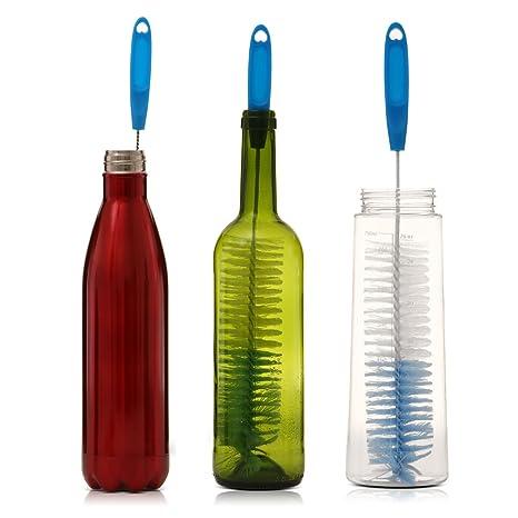 Cepillo de Botellas,Cepillo de Limpieza con Largo Mango Ideal Para Limpiar Botellas de cerveza estrecha, Cepillo Flexible con Gando para Jarra, Marcar Copa, ...