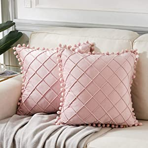 Andaot 2 Packs Boho Decorative Throw Pillow Covers with Pom Poms for Living Room/Couch/Bed, Blush Pink Pillow Covers 18x18 Inch/45x45 cm, Soft Velvet Plaid Cute Cusion case, Modern Farmhouse Decor