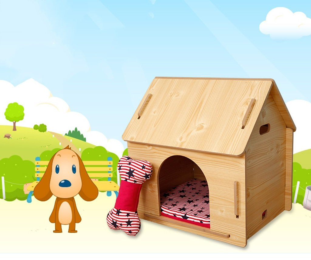 L %Pet Bed Wooden Dog House Pet Lodge Dog Kennel Removable Dog House Indoor Outdoor Pet House Doghouse-X411 Pet Supplies (Size   L)
