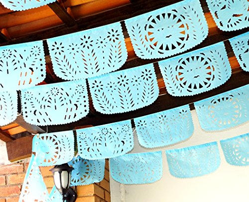 Mexican Party Decorations, Papel Picado Banner, Over 60 feet Long, Aqua Blue tissue PAPER garland, Mexican Decorations, Weddings, Quinceneras, Birthdays, Fiesta party supplies by MexFabricSupplies