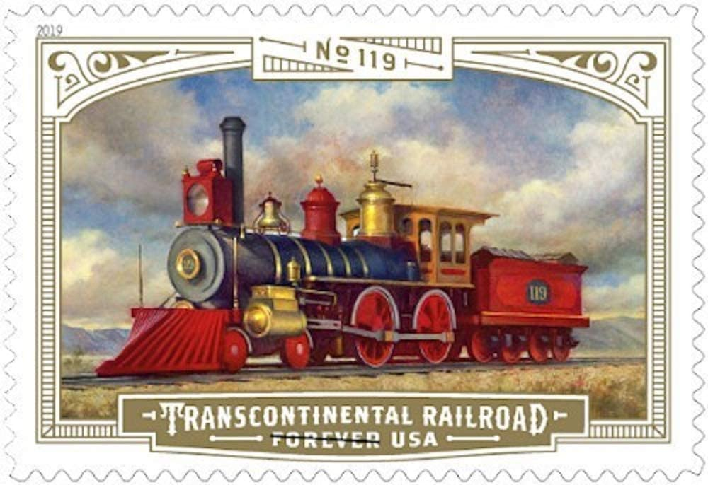 Transcontinental Railroad Sheet of 18 US First Class Postage Stamps American Golden Spike Train (18 Stamps)