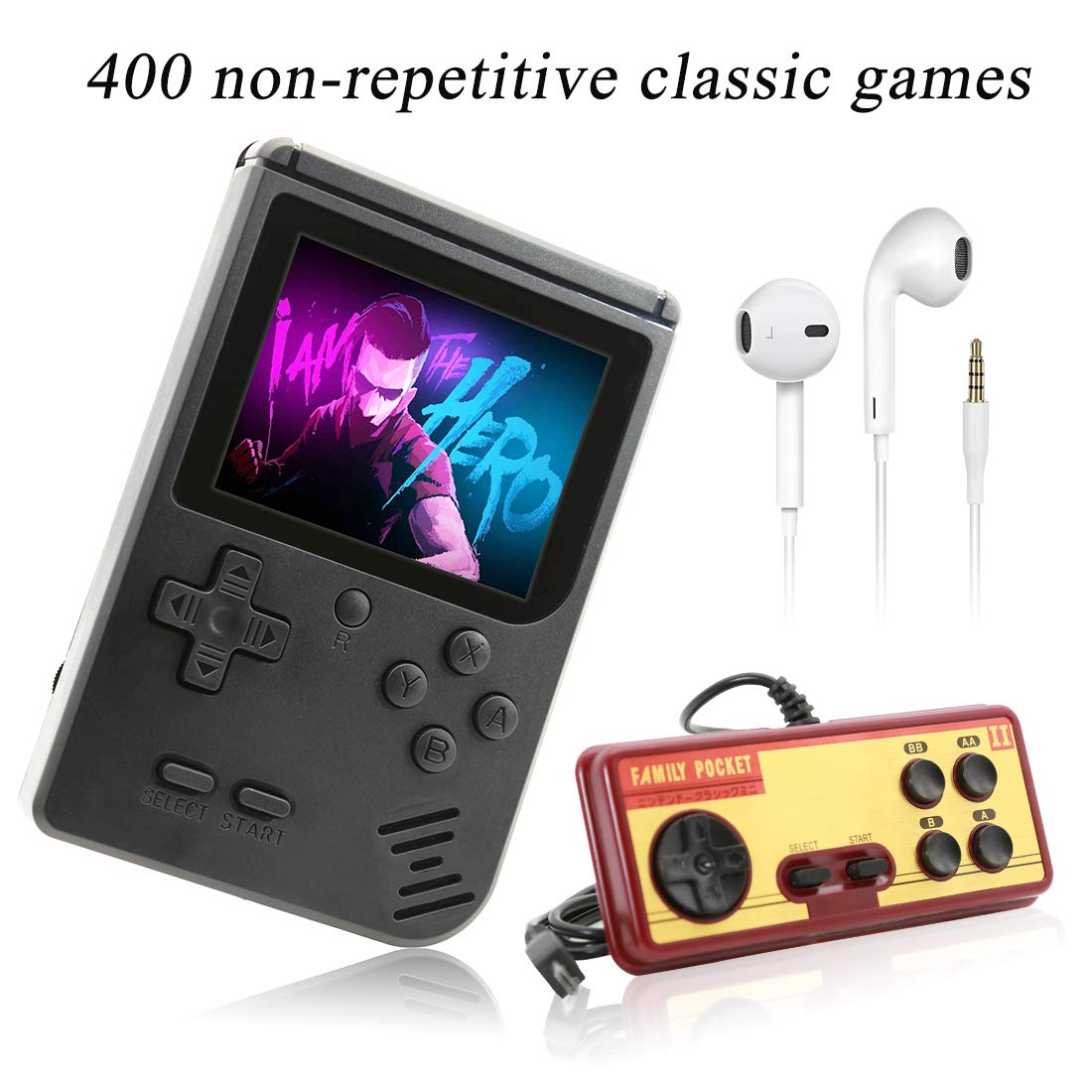 AKTOUGST Handheld Game Console, Retro Game Console 400 Classic Game FC System Video Portable Mini Extra Joystick Controller Support TV 2 Player,Gift for Children Adult, (Black) by AKTOUGST (Image #1)