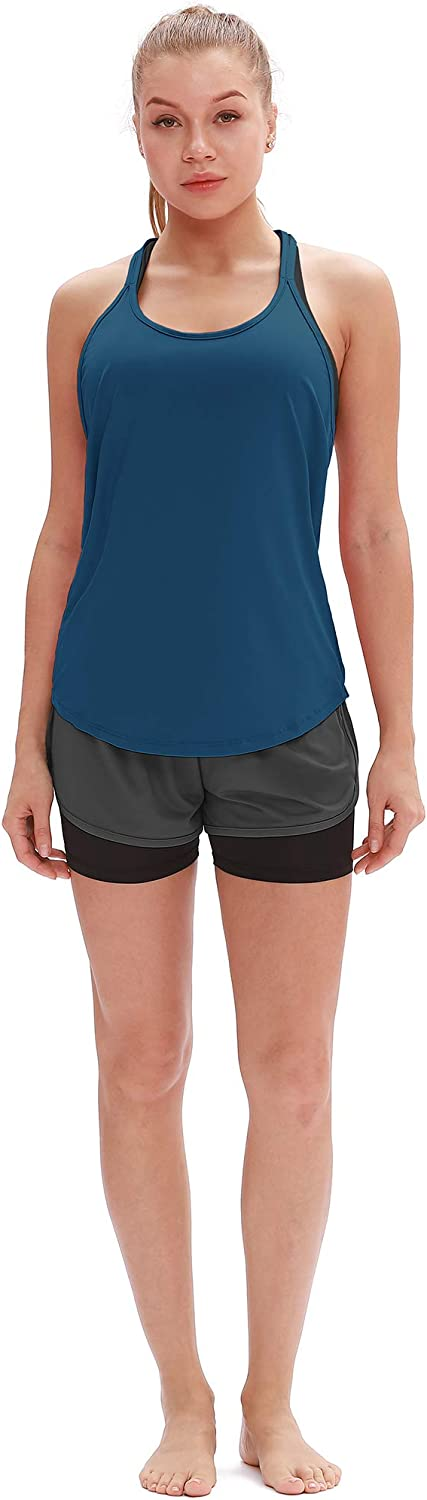 T-Back Running Tank Top icyzone Workout Tank Tops for Women Athletic Yoga Shirts Pack of 2