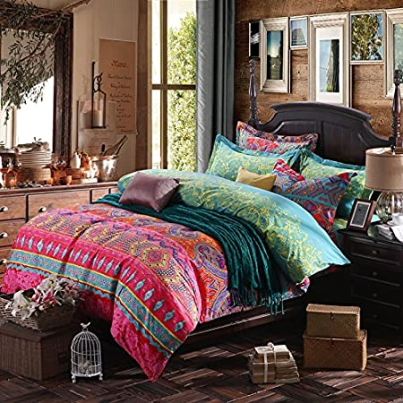 boho bedding reversible ethnic copper bohemian cotton ac com southwestern navy amazon duvet dp cover striped white set